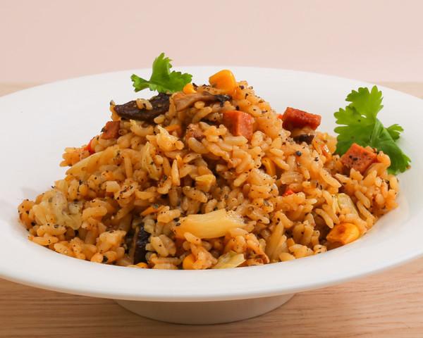 黑胡椒素火腿蘑菇炒飯(全素)